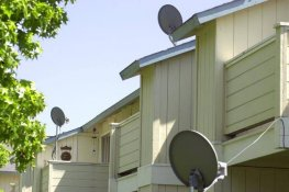 Satellite dishes are situated
