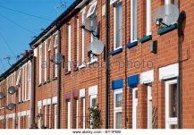 Terraced houses with satellite